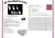 English Worksheets: THE BEATLES ´ALL YOU NEED IS LOVE´ song-based activity (fully editable, +answer key)