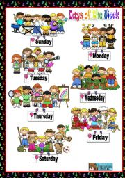 English Worksheet: DAYS OF THE WEEK - POSTER + WORKSHEET