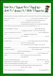 English Worksheet: HAVE TO in Present and Past Tense