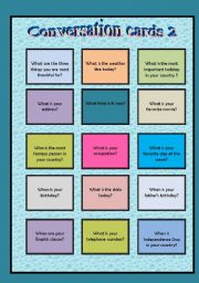 English Worksheet: Conversation cards 2 - Wh questions + to be