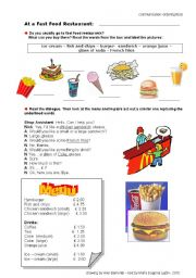 English Worksheet: In a fast food restaurant:Ordering food