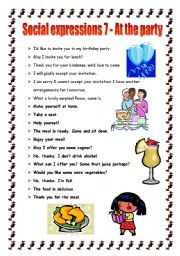 English Worksheet: Social expressions 7 - at the party