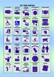 English Worksheet: AT THE HOTEL/SIGNS/PICTIONARY