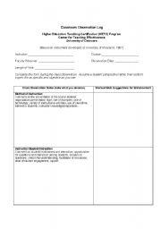 English worksheets: Classroom Observation Log