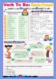 English Worksheets: Verb To Be  -  Simple Present