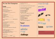 English Worksheet: SONG: QUEEN - WE ARE THE CHAMPIONS