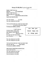 English Worksheets: Always on My Mind by Elvis Presley