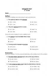 English worksheets 3rd grade grammar test