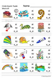 English worksheet: Circle Sound Puzzle: phonics the /ai/ sound