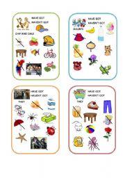English Worksheet: Has got/Hasn�t got Have got/ Haven�t got speaking cards part 3