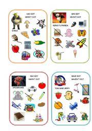 English Worksheet: Has got/Hasn�t got Have got/ Haven�t got speaking cards part 2