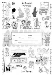 English Worksheet: ENGLISH PORTFOLIO COVER (for colouring) - English Speaking Countries - 1/3