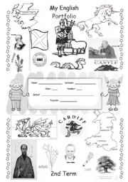 English Worksheet: ENGLISH PORTFOLIO COVER (for colouring) - English Speaking Countries - 2/3