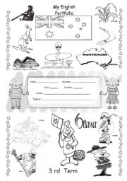 English Worksheet: ENGLISH PORTFOLIO COVER (for colouring) - English Speaking Countries - 3/3
