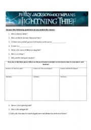 English Worksheets: Percy Jackson and the Lightning Thief