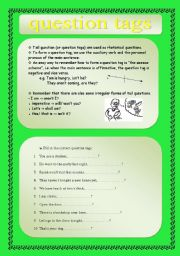 English Worksheets:  tag  questions (tail questions) + KEY