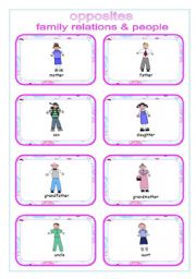English Worksheet: OPPOSITES - family relations  &  people  ~ 16  flash cards