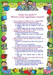 English worksheet: What´s your signature cereal quiz: only for girls (21.08.2010)