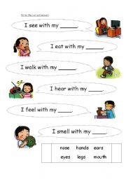English Worksheets: actions with parts of body