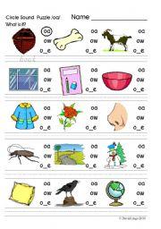 English worksheet: Circle Sound Puzzle 4: phonics the /oa/ sound