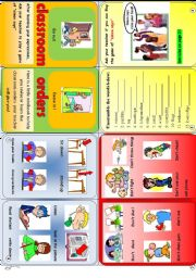 English Worksheet: classroom orders minibook