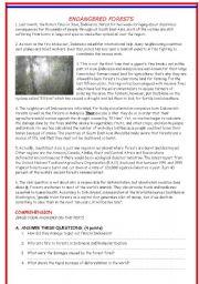 English Worksheets: ENDANGERED FORESTS