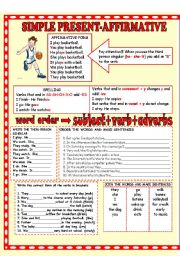 English Worksheet: SIMPLE PRESENT AFFIRMATIVE