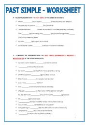 grammar worksheets verbs verb tenses simple past past simple worksheet