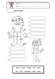 English Worksheets: Body Parts (first part)