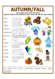 English Worksheets: DOUBLE PUZZLE (AUTUMN/FALL) + KEY