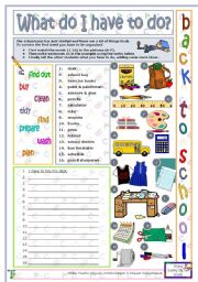 English Worksheet: Back to school: What do I have to do?