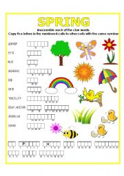 English Worksheets: DOUBLE PUZZLE (SPRING) + KEY