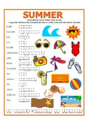 English Worksheet: DOUBLE PUZZLE (SUMMER) + KEY