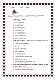 English Worksheets: Passive voice, negative questions and tag questions