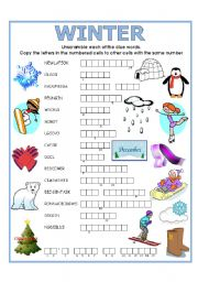 English Worksheet: DOUBLE PUZZLE (WINTER) + KEY