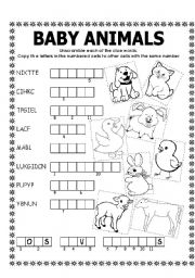 English Worksheets: DOUBLE PUZZLE (BABY ANIMALS) + KEY