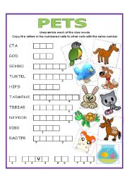 English Worksheets: DOUBLE PUZZLE (PETS) + KEY