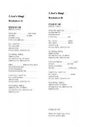 English Worksheets: Song: STAND BY ME