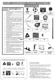 English worksheet: SPORT - EQUIPMENT, PLACES, CLOTHES & ACCESSORIES - 12 EXERCISES