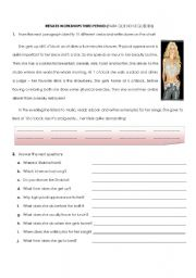 English Worksheet: Shakira Daily Routine