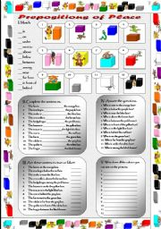 English Worksheet: Prepositions of place - exercises + key.