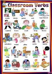 English Worksheets: Find 25 Classroom Verbs