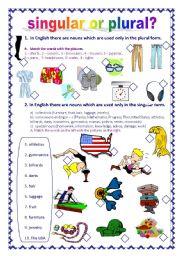 English Worksheet: Singular or plural? (23.08.10)