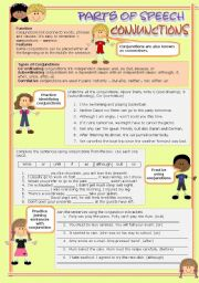 English Worksheet: Parts of speech (8) - Conjunctions (fully editable)