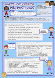 English Worksheet: Parts of speech (9) - Prepositions (fully editable)