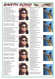 English Worksheet: Song: Earth Song (Michael Jackson) - comprehension + vocabulary on environment ((2 pages)) ***fully editable