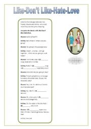English Worksheets: I/ YOU Like-Don�t Like-Hate-Love