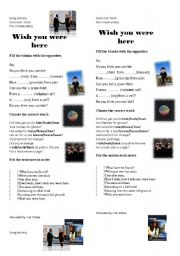 English Worksheet: Wish you were here - song activity