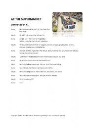 English Worksheet: At the Supermarket - Three Conversations