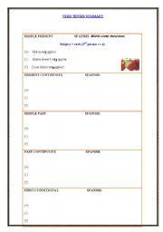 English worksheet: Verbs template